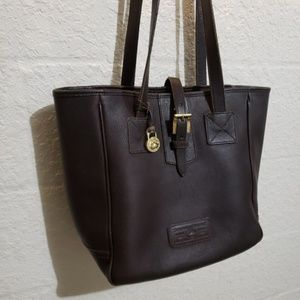 Vintage Dooney & Bourke Leather & Brass Tote